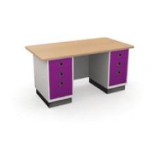 โต๊ะสำนักงานเหล็ก kiosk ขนาด 5 ฟุต หน้าไม้
